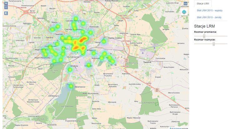 Mapa ciepła rozmieszczenia / zagęszczenia stacji Lubelskiego Roweru Miejskiego oraz mapa ciepła wypożyczeń LRM w 2015