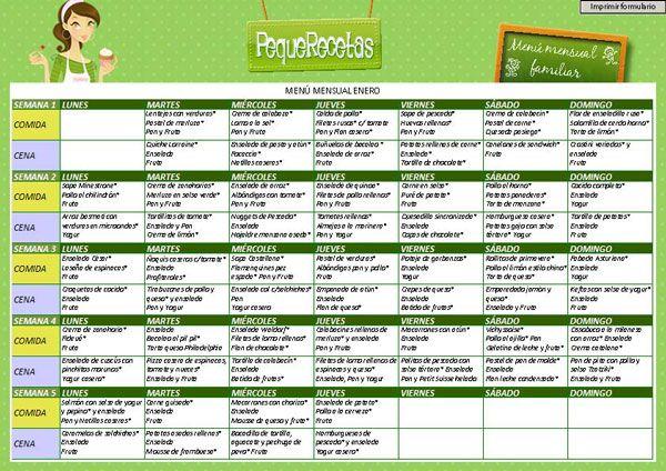 Menús semanales para ayudar a planificar las comidas y cenas familiares. Menú mensual dividido en menús semanales revisados por nuestra nutricionista.