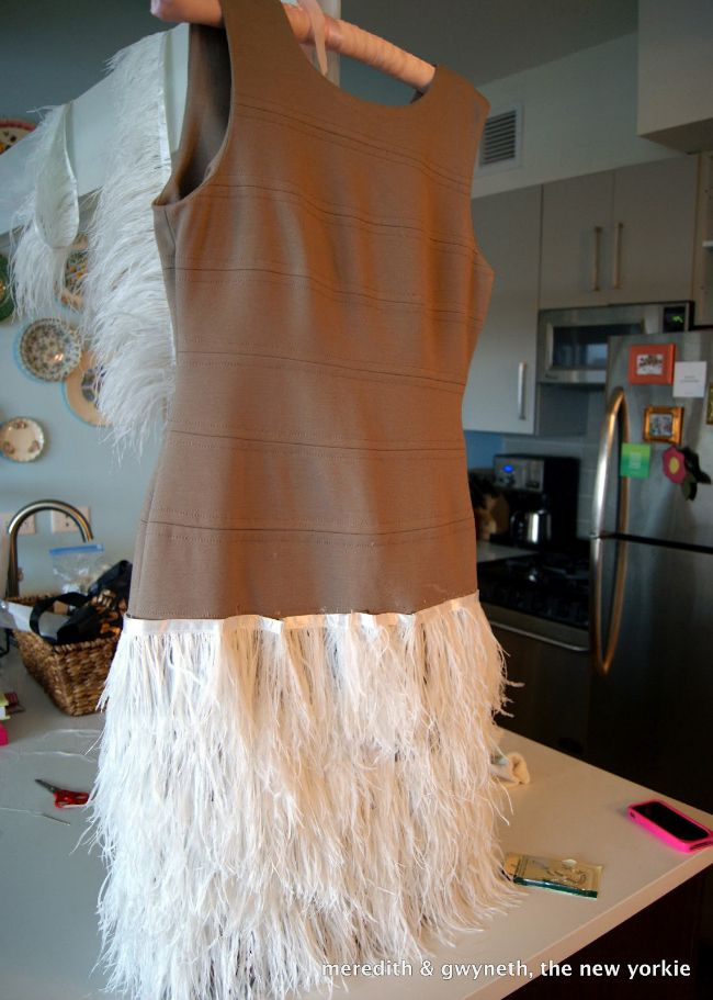 DIY No Sew Feather Dress Step 8 Convert current dress to 20's style flapper dress