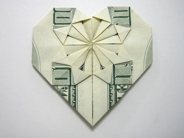 Money origami heart, with full step by step instructions