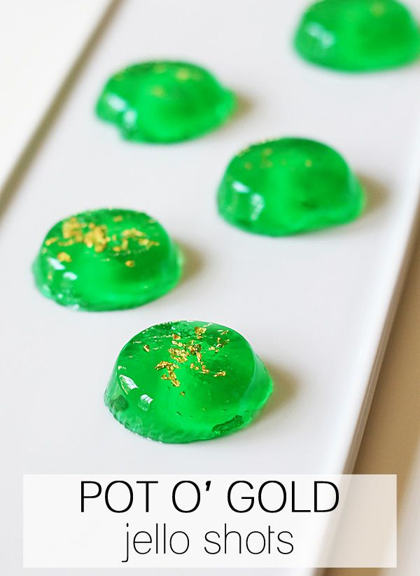 Pot of Gold Jello Shots (made with GoldSchlager)