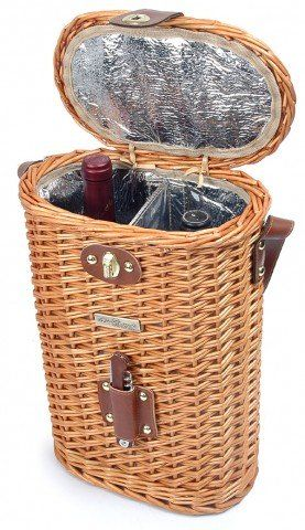 The Enhanced Vineyard Collection - Stylish Willow cooler wine basket for 2 bottle with wooden opener and shoulder strap.