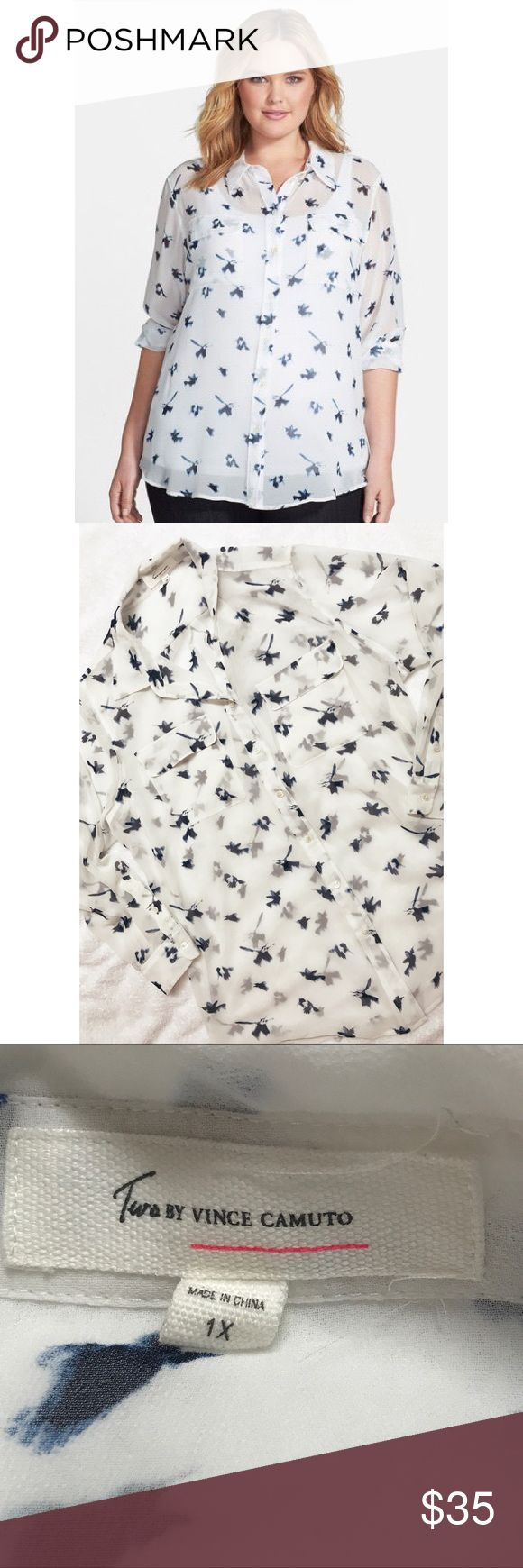 Vince Camuto • Bird Blouse Two by Vince Camuto • Bird Blouse. Sheer white with blue bird details. Size 1X. In perfect condition. First image from Nordstrom website. Two by Vince Camuto Tops Blouses