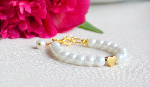 Flower girl bracelet White flower girl bracelet Heart bracelet