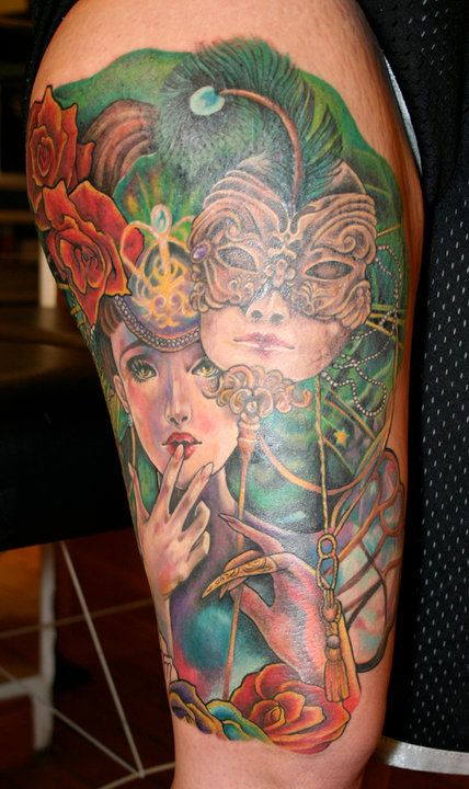 Woman with Masquerade Mask Tattoo by Sarah MIller