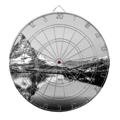 Matterhorn mountain black and white landscape dart board - black and white gifts unique special b&w style