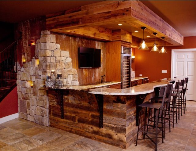 Rustic finished basement bar man cave pinterest bar rustic and ceilings for Home bar basement design ideas