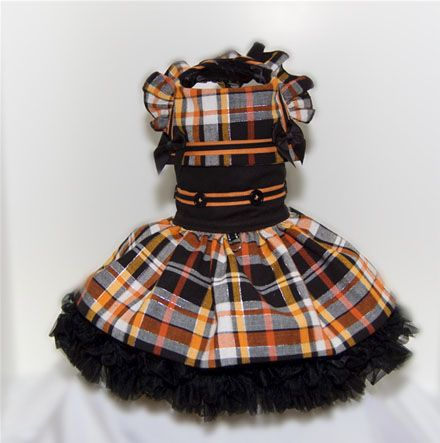 This one is our favorites dog dresses. With the colors in this little black, orange, and silver plaid your little Diva can wear this dress for Fall, Halloween, and Thanksgiving. The dress has a black bodice and large square nautical collar trimmed in pumpkin and black braid. The sleeves $60 [...]
