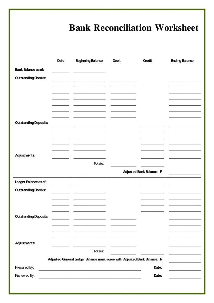 Bank Reconciliation Worksheet Blank Form Filename Down Town