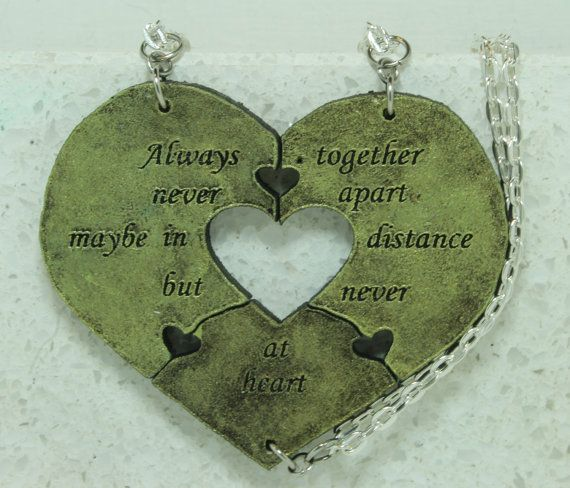 Heart Necklaces set of 3 Always Together quote Best Friend Jewelry Green    My heart sets are back, better than ever!    ***A Note about what