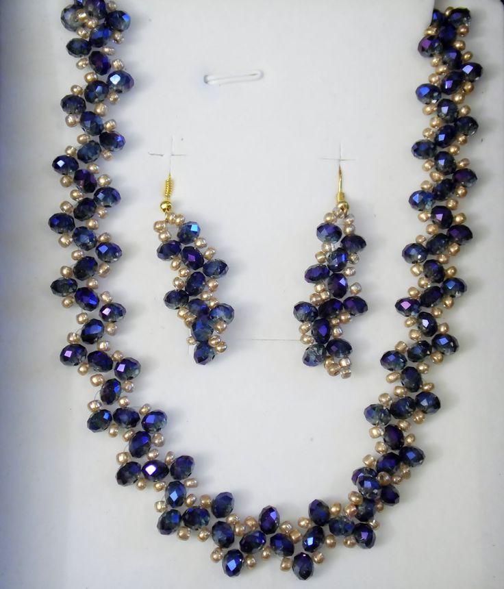 Midnight Violet Crystal Weave Necklace Set by VenusDelights on Etsy