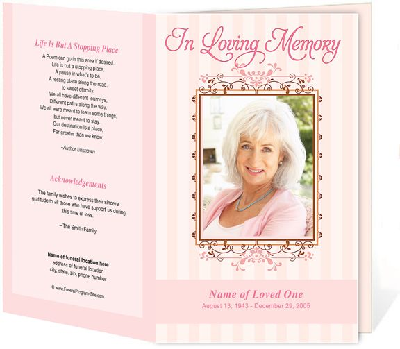 A Feminie And Lovely Frame Inspired Funeral Program Template Design With  Soft Background Striping And Flourish Framing Highlighting Your Loved Oneu0027s  Photo.  Free Funeral Program Templates Download