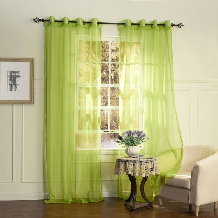 Country Elegant Green Solid Eco-friendly Sheer Curtain   #curtains #decor #homedecor #homeinterior #green