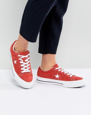 Converse One Star Ox Trainers In Red Suede  60f075425