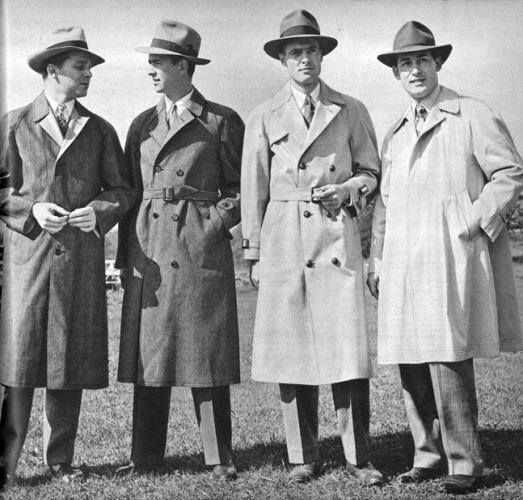 War time clothing influenced men's fashion design after the war by coping or modifying uniforms into civilian clothes.  Trench coats, bomber jackets, knit undershirts, pea coats, chino pants and aviator glasses all have roots in WW2 military clothing. With so much military surplus available after the war civilians would buy and wear military clothing for several more years.