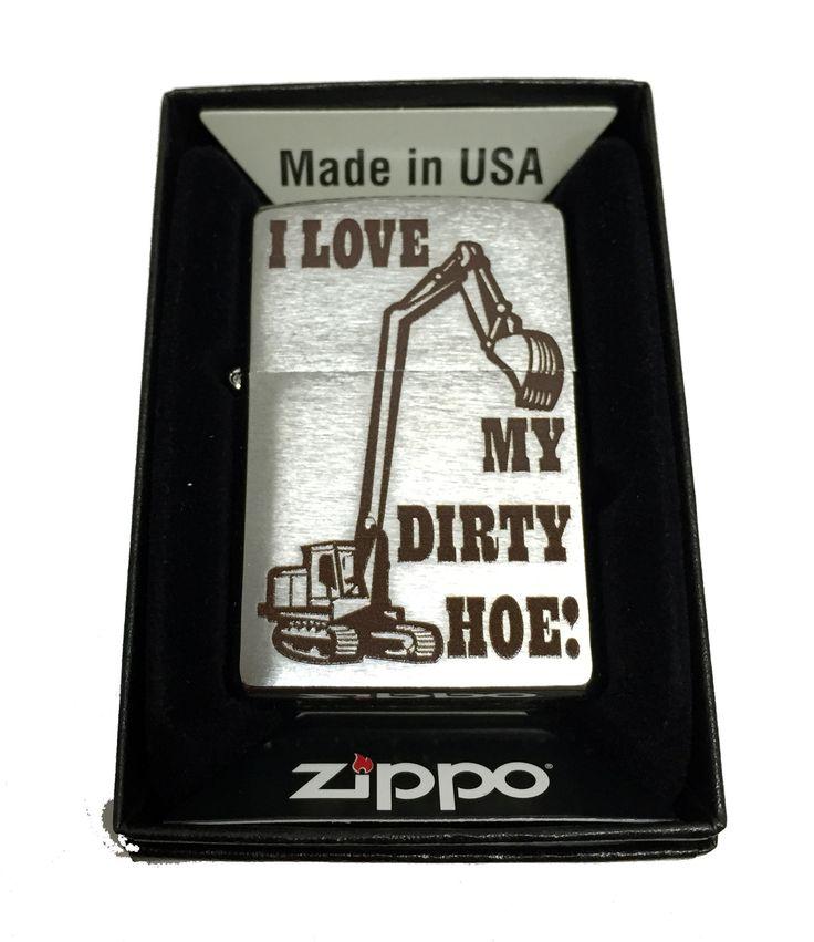 Zippo Custom Lighter - I Love My Dirty Hoe Backhoe Illustration - Regular Brush Finish Chrome