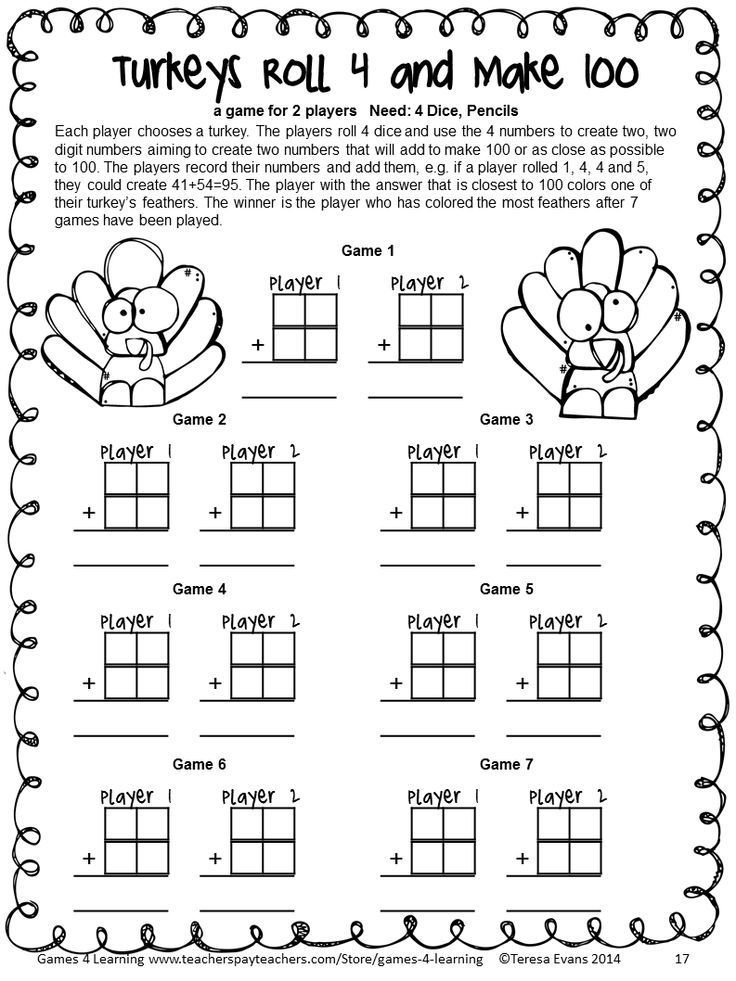 No Prep math game from Thanksgiving Math Games Third Grade by Games 4 Learning $