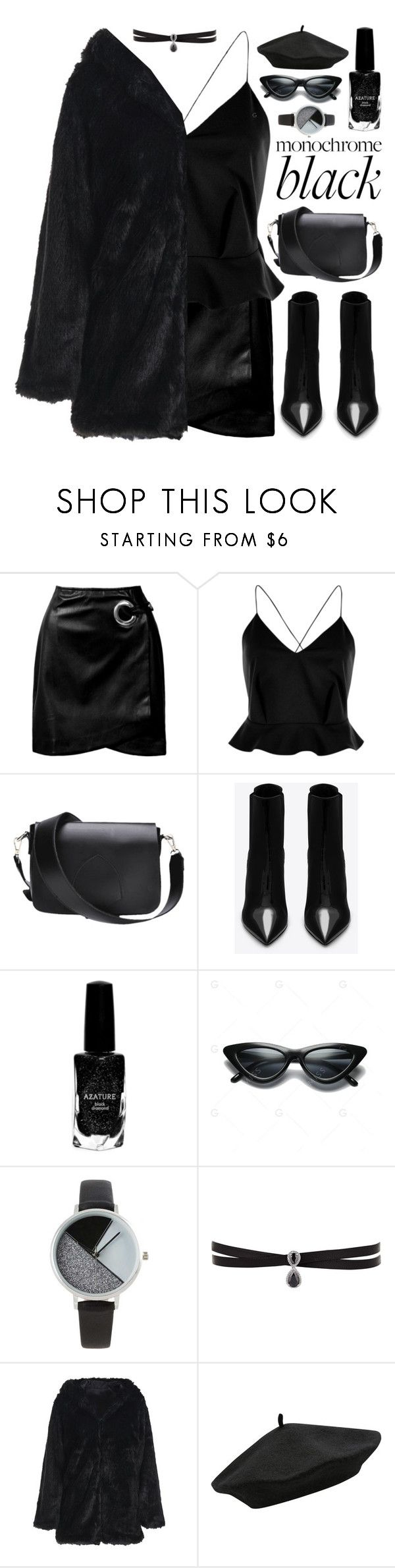 """M O N O C H R O M E : B L A C K"" by amethyst0818 ❤ liked on Polyvore featuring Sans Souci, River Island, Yves Saint Laurent, Azature, BKE, Fallon and M&Co"