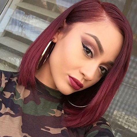 mickeygonzalez_   bob hairstyle, haircut inspiration, burgundy hair, red hair, black girl with colored hair, colorful hair.