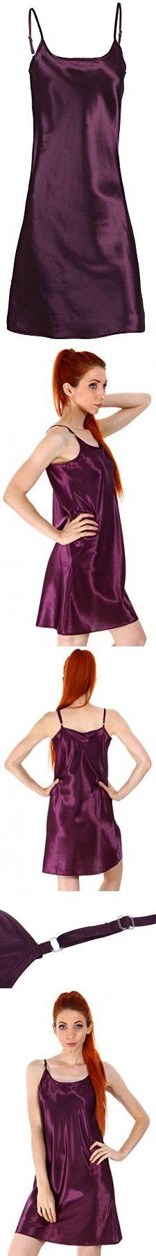 Women's Satin Nightgown, Long Camisole Chemise,Dark Purple, S/M