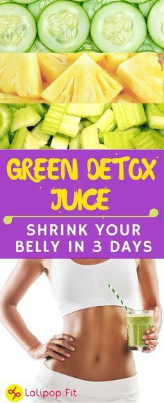 Green Detox Juice - Shrink your belly bloat in three days | #FlatBelly #LoseWeight #WeighLoss | lalipopfit.com