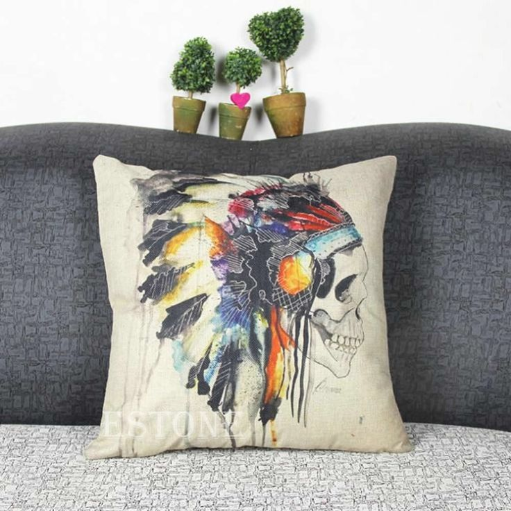 Indian Skull Cotton Linen Throw Pillow Case Cushion Cover Sofa Home Decor -Y102 #Affiliate