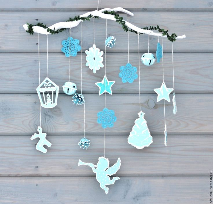 Купить Новогодний декор на стену в скандинавском стиле бирюзовая гирлянда - новогодний интерьер, новый год 2017