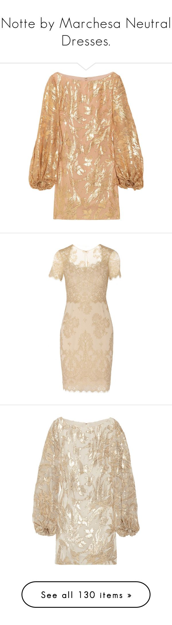 """Notte by Marchesa Neutral Dresses."" by that-drumming-noise ❤ liked on Polyvore featuring dresses, tops, vestidos, gold, women, boat neck cocktail dress, special occasion dresses, floral dresses, floral evening dresses and long evening dresses"