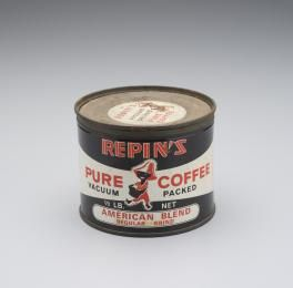 2007/106/8 Coffee tin, Repins Pure Coffee American Blend, metal / paper, used by Repins Coffee Inn, Sydney, New South Wales, Australia, 1948-1970, made by Repins Pty Ltd, Sydney, Australia, 1948-1970 - Powerhouse Museum Collection