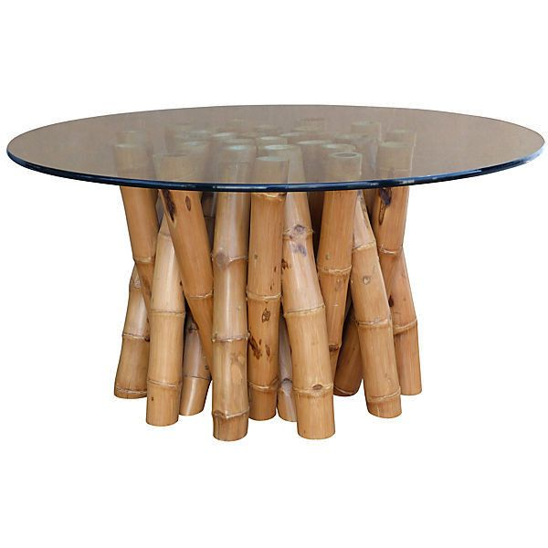 High Quality Pre Owned Bamboo Dining Table W/ Glass Top (3,265 CAD) ❤ Liked