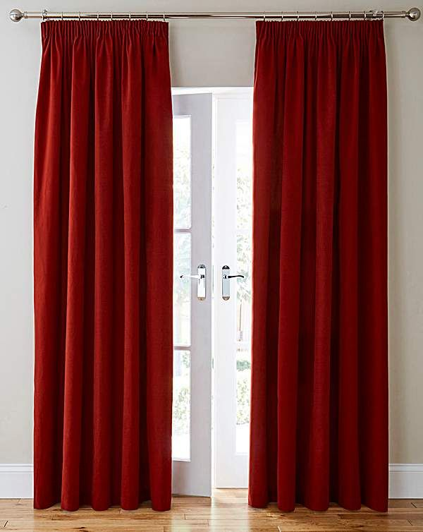 75 in purple Thermal Velour Pencil Pleat Curtains