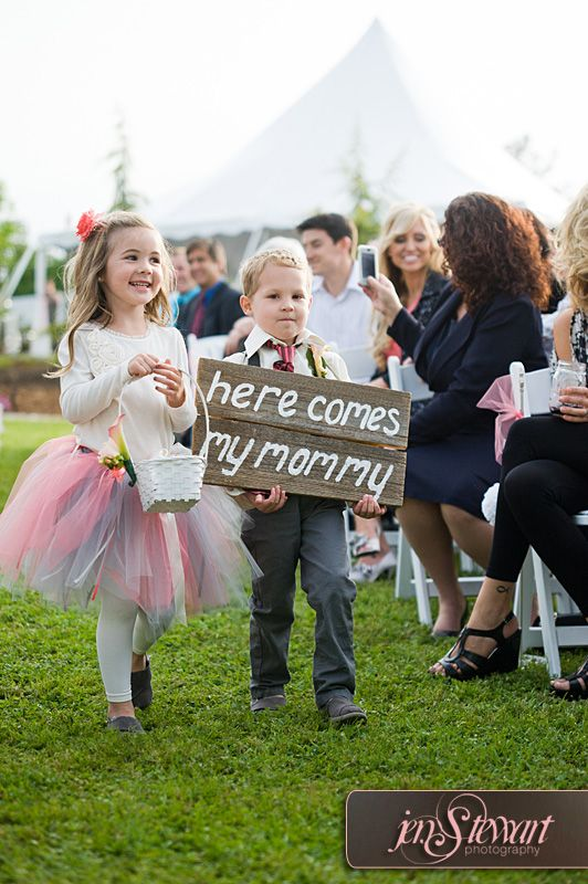 Ring bearer/blended family cute sign idea! @Danielle Lampert Rusk This is the cutest thing ever for two people with kids.