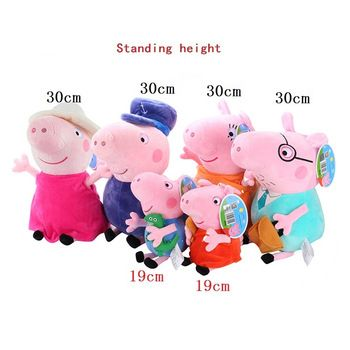 19-30cm hot sale 4-6 PCS/Lot Plush Toy Pink Peppa Pig Family stuffed Animal Pig comfort Doll For Children's doll plush Gift