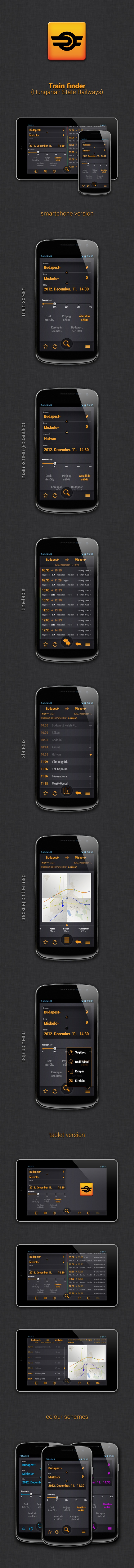 Train Finder by gabor styt, via Behance   ***  MÁV (Hungarian State Railways) Train finder. This is a new GUI for an existing Android app.