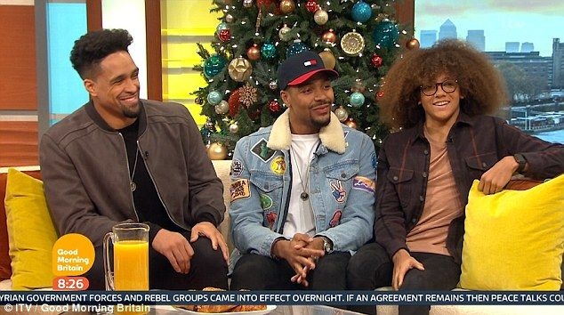 Jordan Banjo appeared on Friday's Good Morning Britain with Diversity's Ashley Banjo (L) and Perri Kiely (R) as he reflected on his I'm A Celebrity... Get Me Out Of Here! experience