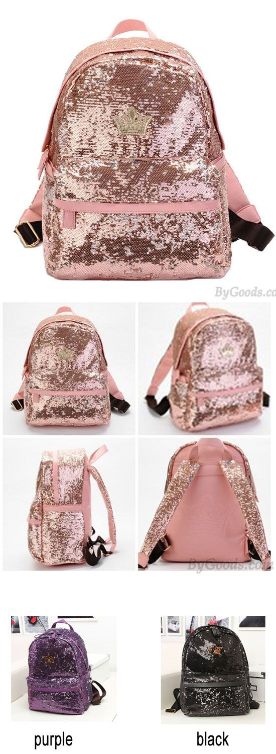 Pink Shine Crown Girl School Rucksack Sequin Student Backpack is a perfect school backpack for her.#sequin #crown #backpack #college #school #Bag #cute #girl #student