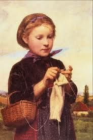 the knitting girl painting - Google Search
