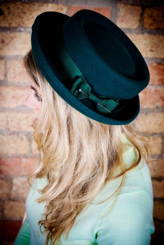 Ladies porkpie hat in forest green by EmilyJaneMillinery on Etsy, £70.00
