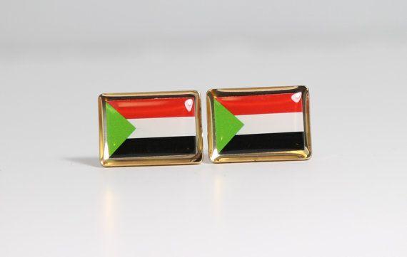 Sudan Flag Cufflinks by LoudCufflinks on Etsy