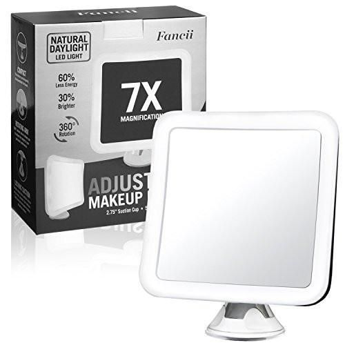 Fancii 7X Magnifying LED Lighted Makeup Mirror with Strong Suction Cup – 6.5″ wide, Natural Daylight, Cordless Portable Vanity Mirror with Light (Square)