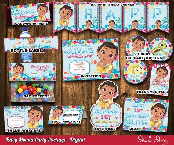 Moana Party Package Moana Invitation Printable by OlivettaDesign