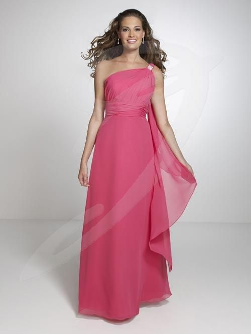 Balletts Bridal - 19030 - Bridesmaids by Jacquelin Bridals Canada - This bridesmaid dress features a one shoulder asymmetrical neckline, with crystal embellishment, pleated bodice and long A-line skirt.
