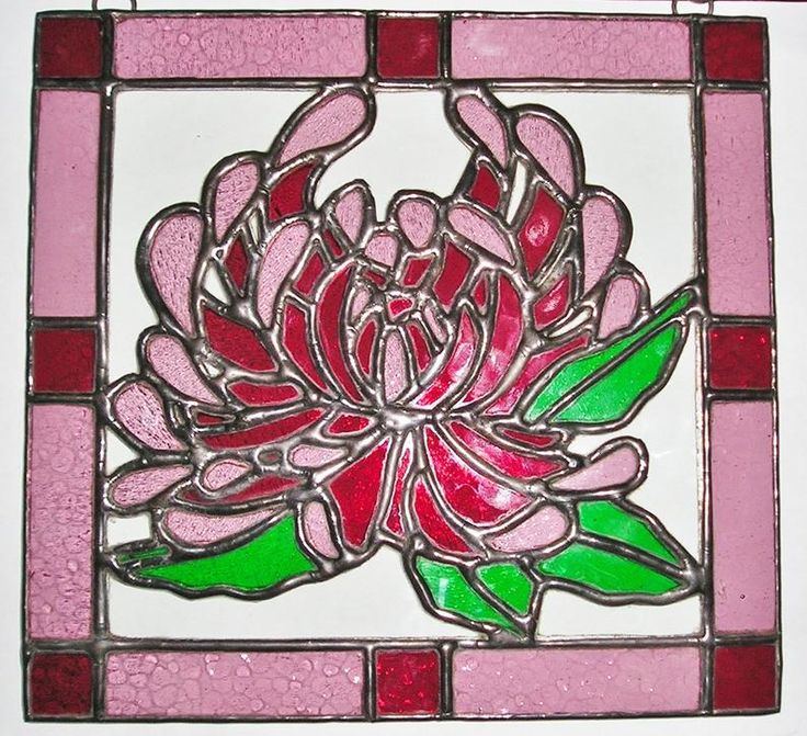 Stained Glass Chrysanthemum Flower of the Month, Birthday