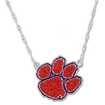 Clemson Tiger Paw Crystal Necklace  #clemson #tigers