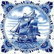 Het is Delfts blauw kunst van een boot.