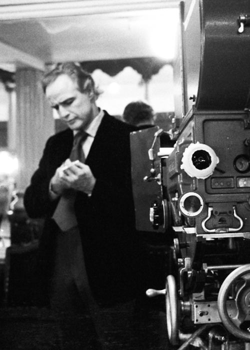Marlon Brando on the set of The Godfather (1972)