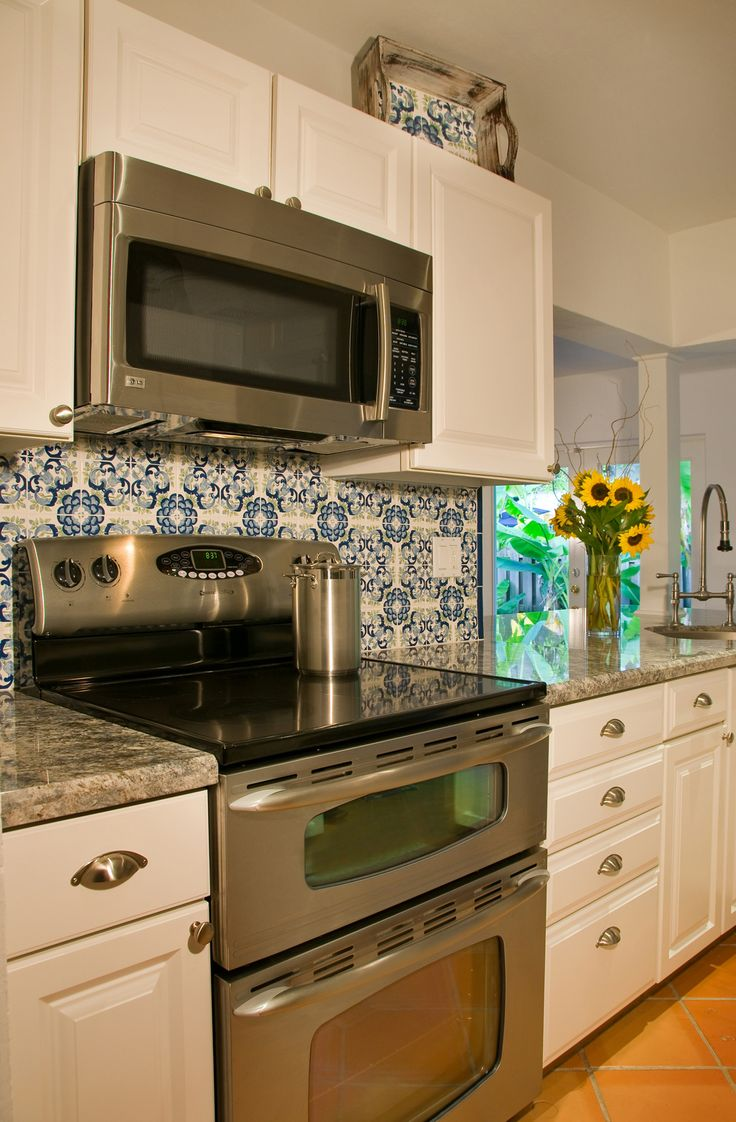 24 best kitchen tile ideas custom designed handpainted images on i love the blue and white hand painted tile to pop against the white cabinets dailygadgetfo Images