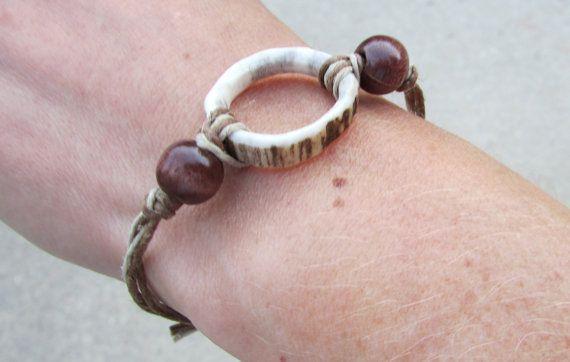 Antler Ring Pendant Bracelet by TheAntlerArtisan on Etsy