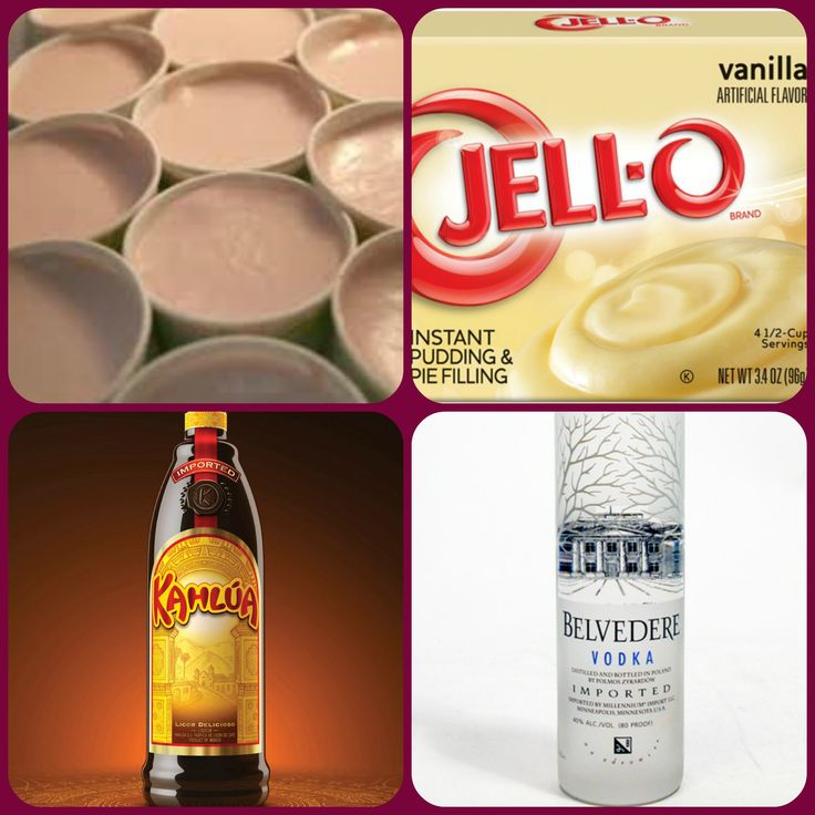 White Russian Pudding Shots 1 small Pkg. Vanilla instant pudding ¾ Cup Milk 1/4 Cup Vodka 1/2 Cup Kahlúa 8oz tub Cool Whip  Directions 1. Whisk together the milk, liquor, and instant pudding mix in a bowl until combined. 2. Add cool whip a little at a time with whisk. 3.Spoon the pudding mixture into shot glasses, disposable 'party shot' cups or 1 or 2 ounce cups with lids. Place in freezer for at least 2 hours