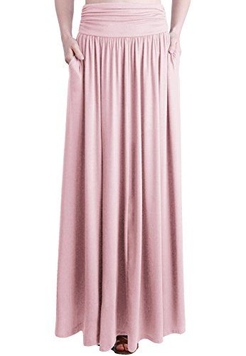 7f9ed136f6 TRENDY UNITED Women's Rayon Spandex High Waist Shirring Maxi Skirt With  Pockets (BLS, Large)